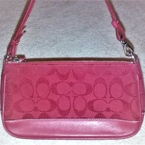 Coach Red Wristlet C Signature Jacquard/Leather